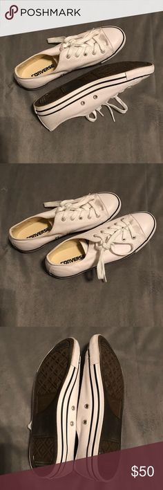 Like New White Converse Women's Size 8 These shoes have only been worn once! They are still in like new condition (see pics)!  No stains, no box included. Converse Shoes Sneakers