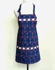 Anchors Away Blue Ocean - Red White and Blue fully lined cotton Apron with two pockets by MitzieAprons4u on Etsy