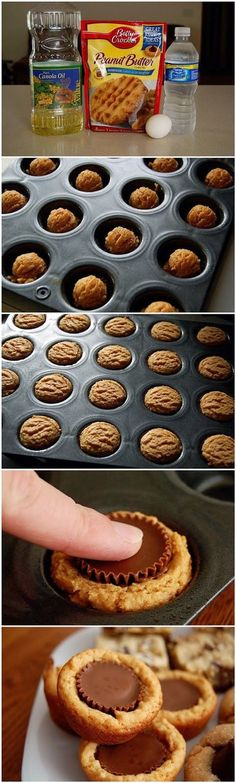 Perfect in the Pampered Chef Mini Muffin Pan @ pamperedchef.biz/jmenting Reese's Peanut Butter Cup Cookies ~ Freshdreamer