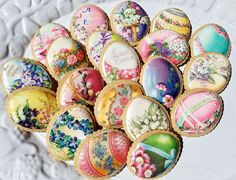 Colorful Vintage EASTER Egg Wafer Papers for Cookies - Edible Images