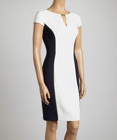 Look at this #zulilyfind! White & Navy Color Block Cap-Sleeve Sheath Dress - Women by London Times #zulilyfinds