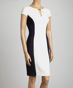 Another great find on #zulily! White & Navy Color Block Cap-Sleeve Sheath Dress - Women by London Times #zulilyfinds