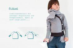 Schlüttli aus Sweatshirtstoff mit typischer schräger Knopfleiste und langen Ringelbündchen