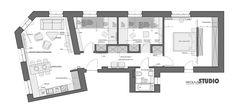 Projekt Mieszkanie Przy Ul. Krasickiego - MIKOŁAJSKAstudio Ul, Floor Plans, Floor Plan Drawing, House Floor Plans