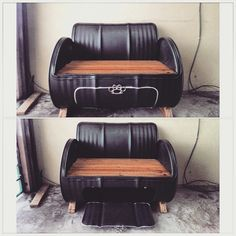 D.I.Y oil barrel couch industrial concept furniture -do.it.myself project-