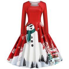 Square Collar Elegant Long Sleeve Women Winter Christmas Dress Plus Size Snowman Print Red Vintage Party Dress Robe Plus Size Vintage Party Dresses, Vintage Outfits, Vintage Christmas Dress, Vestidos Retro, Fall Collection, Chiffon Dress Long, Up Girl, Retro Dress, Flare Dress