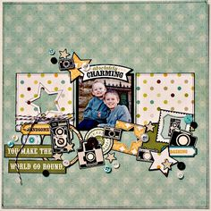 A Boys Rule layout using the May kit featuring Echo Park: This and That Charming collection. Used Creative Scrappers NSD sketch