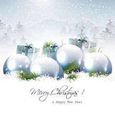 free vector merry christmas and happy new year snow landscape elegant background with xmas ball and gift box greeting card template illustra