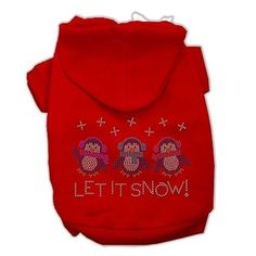 Your dog will look so festive and ready for Christmas celebrations in this Let it Snow Penguins Rhinestone Dog Hoodie! - Rhinestone design. - Made of cotton. - Made in the U.S.A. Why We Love It: Enjoy