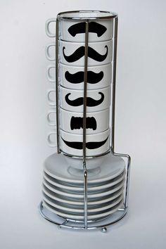 mustache espresso mugs and saucers