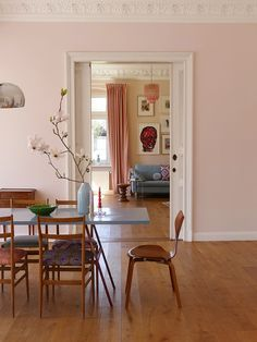 The pastel color palette is a tricky one to master—so we asked four people who have decked out their homes in the soft hues how they make it work. Pastel Walls, Pink Walls, Pastel Colour Palette, Pastel Colors, Pastel Pink, Murs Pastel, Pink Dining Rooms, Interior And Exterior, Interior Design