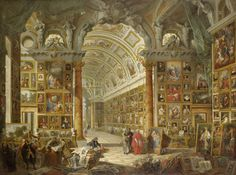 Liked this piece for all the different colors. Giovanni Paolo Panini, Interior of a Picture Gallery with the Collection of Cardinal Silvio Valenti Gonzaga