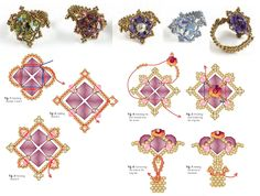 CLASSIC QUARTET Ring. Page 2/2. By Roxanne Rogers - FREE Pattern.Use: seed beads 12/0-15/0 (gold or silver), bicone beads 5-6mm (any color), bicone beads 3mm, crystal flower bead 6mm. Full tutorial in Russian on the web page.