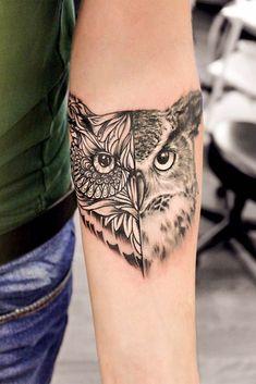 24 Owl Tattoo Designs That Will Make You Drool With Satisfaction - Half Realism Half Mandala Owl Tattoo ★ Cute tattoos with meaning fo - Cute Tattoos For Women, Sleeve Tattoos For Women, Tattoo Designs For Women, Half Sleeve Tattoos, Best Tattoo Designs, Owl Forearm Tattoo, Mandala Arm Tattoo, Tattoo Bird, Tribal Bird Tattoos