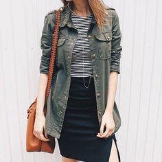 stripes/military/bucket-bag/pencil-skirt.  #stylemood