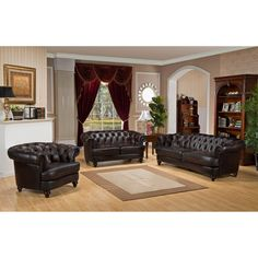 Jenna Traditional Living Room Set with Rolled Arms (3 Pcs Set: Sofa ...