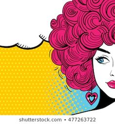 Sexy woman with curly hair and speech bubble. Vector bright background in pop art retro comic style.: comprar este vector de stock y explorar vectores similares en Adobe Stock Arte Pop, African American Artist, American Artists, Pop Art, Hair Vector, Bright Background, Estilo Retro, Comic Styles, Logo Design Inspiration
