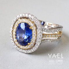 Does our dazzling #diamond and #sapphire #ring with two tone white and yellow gold make your heart beat faster? There is no shortage of sparkle and shine on this beauty! Check it out here http://www.yaeldesigns.com/