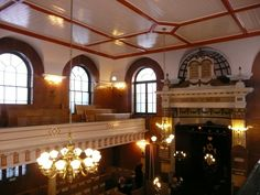 Sneaky view inside Sandy's Row Synagogue. Places Of Interest, The Row, Ceiling Lights, London, Lighting, Home Decor, Decoration Home, Room Decor, Lights