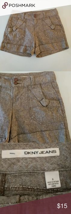 DKNYJEANS super cute shorts Brown/tan, linen/cotton, size 8 DKNY Shorts
