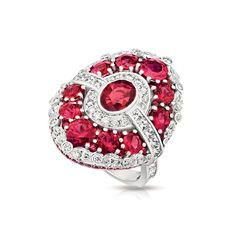 Devotion collection: Fabergé Devotion Aurora ruby ring is framed by clusters of diamonds and smaller rubies