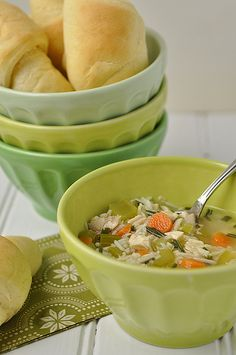 Quick chicken and rice soup.