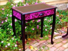 Pink Damask Table