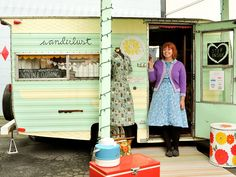 After eating at one of the many food carts in Portland, Oregonians Vanessa and Dan Lurie bought a 1969 Cardinal Deluxe trailer and turned its miniscule bathroom into a dressing room. The couple opened the pastel-painted camper for business in September 2010, selling vintage clothing for men and women from the '40s to '70s and handmade accessories by independent designers like Giant Dwarf.