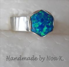 Blue Opal ring  Silver stone Ring  Size 6  Handmade by bgezunt, $45.00