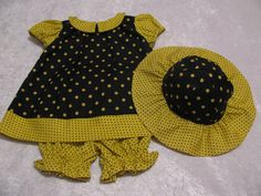 dress panties and hat yellow black polka by SusieQsCupcakeBoutiq