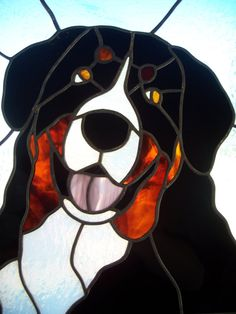 Stained Glass Bernese Mountain Dog Portrait by MicahsGlass on Etsy, $185.00
