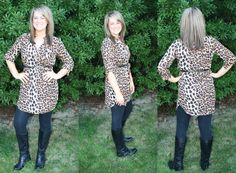 Casually Flirty Leopard Tunic Cut #2!!Belt included!!