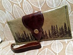 Leather Wallet Long Phone Case with Wrist Strap & by Hollyhawk