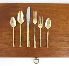 Towle Supreme Gold Bamboo Flatware Sets  / 6pc Place by nyssaink, $800.00 / Settings for 8 & Assorted Servers