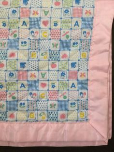 999c9a8c0 Vintage Baby Blanket Pink Blue Quilted Patchwork Design Satin Binding EUC  #Unbranded Doll Houses,