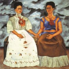 The Two Fridas. This is some of my favorite art and Frida Kahlo is one of my favorite artists. Her style is distinct and i love the self portraits of her. Frida and Diego Rivera are my two favorite Mexican artists. Diego Rivera, Frida E Diego, Frida Art, Frida Kahlo Artwork, Tomie Ohtake, Kahlo Paintings, Oil Paintings, Mexican Artists, Johannes Vermeer