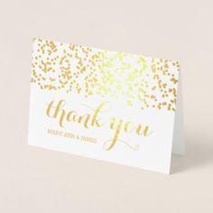 Elegant Wedding Thank You Gold Falling Confetti Foil Card