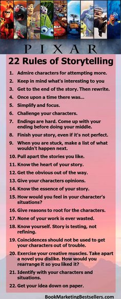 Pixar's 22 Rules for Storytelling: Challenge Your Characters. Informations About Pixar's 22 Rules of Storytelling Pin You Creative Writing Tips, Book Writing Tips, Writing Process, Writing Resources, Writing Help, Writing Skills, Writing Prompts For Writers, Editing Writing, Writing Workshop