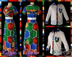 Custom printed Ndebele empire fit, long dress with a white underbust belt with men's matching shirt. African Wear, African Dress, African Fashion, African Traditional Dresses, Traditional Outfits, Modern Traditional, Modern Tailor, Mother Daughter Outfits, Matching Shirts