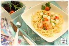 As várias faces da Ginja: Esparguete com camarão, pérolas do mar e tomate ce...
