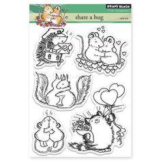 Nouvelle version - Penny Black Valentines 2015 part un câlin écureuils, souris, hérisson, chat, jeu de timbre clair - TimelessStamps4You