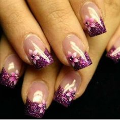 sparkley purple french with flowers