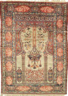 Persian Heriz silk rug, late 19th c, 198 x 145 cm, Moshe Tabibnia gallery