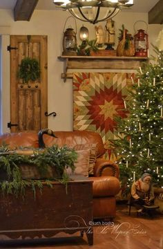 It's lookin' like a cozy *Country Christmas*, here in the hollow! Primitive Country Christmas, Cabin Christmas, Christmas Love, Rustic Christmas, All Things Christmas, Winter Christmas, Vintage Christmas, Christmas Trees, Prim Decor