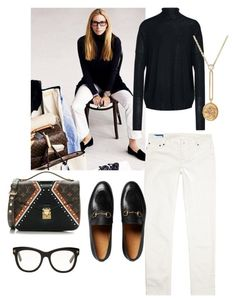 """White denim"" by anna-danielsson-1 on Polyvore featuring Tom Ford, Acne Studios, Retrouvai, Louis Vuitton and Gucci"