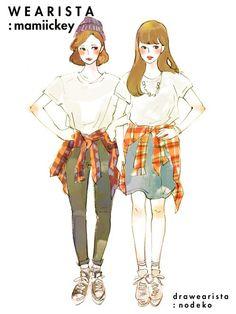 일본 패션 블로거들이 그린 코디 일러스트 39장