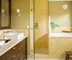 Yellow Bathroom...Yellow definitely isn't my first pick for a bathroom...or any room. But, while I'm stuck with yellow and white tiles, I might as well try to work with it cheaply!