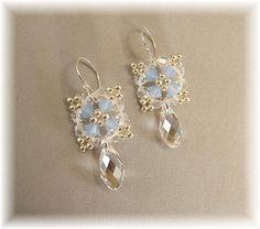Something Blue Earrings Silver Beaded Picot by BridalDiamantes, $25.00