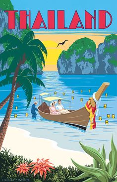 Thailand' by Charles Avalon - Vintage travel posters - Art Deco - Pullman Editions