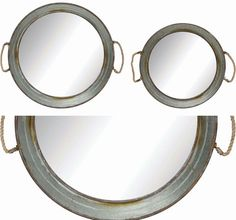 Round Metal Mirrored Trays | Oversized Serving Tray